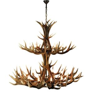 Dvoupatrový lustr z jeleního paroží Diana ARTURE 18x objímka E14 rozměr 145x150 cm 153604