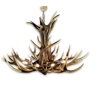 Nádherný moderní lustr z jeleního paroží ARTURE s 9ti nerezovými objímkami 15780304