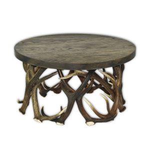 Kulatý konferenční stolek z paroží ARTURE 116634 D13 s dřevěnou deskou v odstínu dub bahenní
