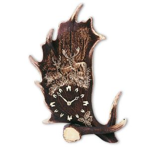 Stolní hodiny z paroží ARTURE 1722V 38 velké - vertikál - motiv jeleni