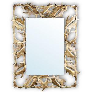 Zrcadlo ARTURE 118817 s rámem z daňčího paroží 105x135 cm