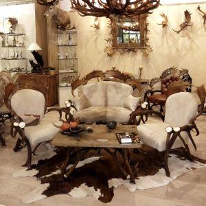 Kožená sedačka z paroží ARTURE Komfort 112205 17 Creme