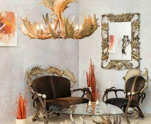 Kožená sedačka z paroží ARTURE Komfort 112205 19 Dark Chestnut