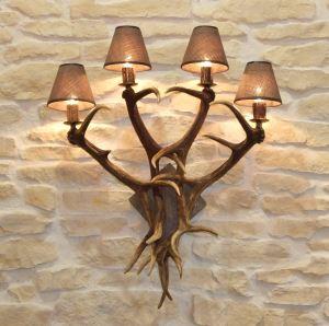 Nástěnná lampa ARTURE z paroží 4x E14 dřevo č. 13 starodřevo 153404 D12