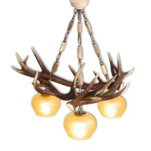 Lustr třílampový ARTURE z jeleního paroží střední