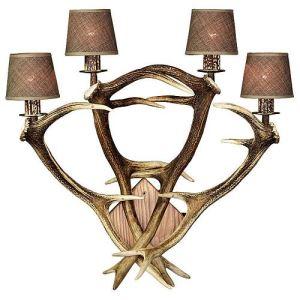 Nástěnná lampa ARTURE z paroží 4x E14 dřevo č.2  dub přírodní 153404 D02