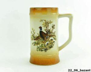 Keramická holba rovná Pabst s loveckým motivem