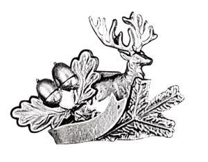 Odznak ARTURE jelen s úlomkem dubovými listy a stuhou 2602