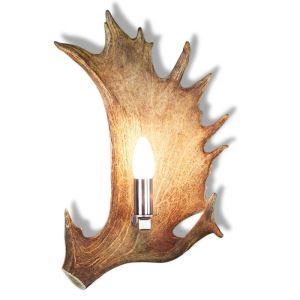 Nástěnná lampa ARTURE z daňčího paroží s nerezovou objímkou 1537215