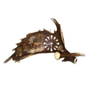 Stolní hodiny z paroží ARTURE 1722H 31 velké - horizont - motiv jelen