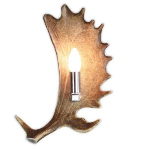 Nástěnná lampa ARTURE z daňčího paroží menší s nerezovou objímkou 1537210